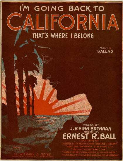 Sheet Music - I'm going back to California, that's where I belong