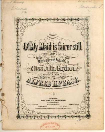 Sheet Music - O! My maid is fairer still; Hungarian air