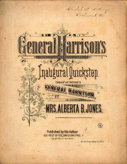 Sheet Music - General Harrison's inaugural quickstep