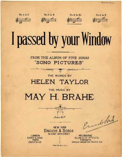 Sheet Music - I passed by your window; Song pictures