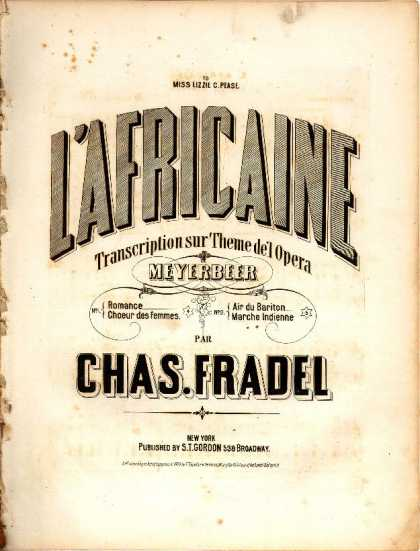 Sheet Music - Air du bariton; Marche Indienne; Africaine