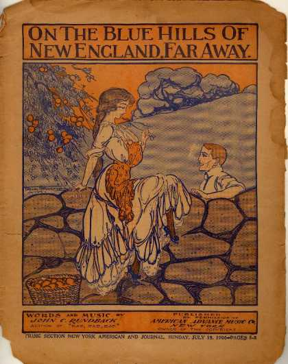 Sheet Music - On the blue hills of New England, far away