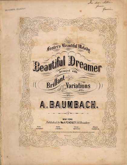Sheet Music - Beautiful dreamer arranged with brillant variations