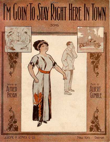 Sheet Music - I'm goin' to stay right here in town