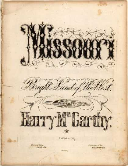Sheet Music - Missouri Bright land of the West