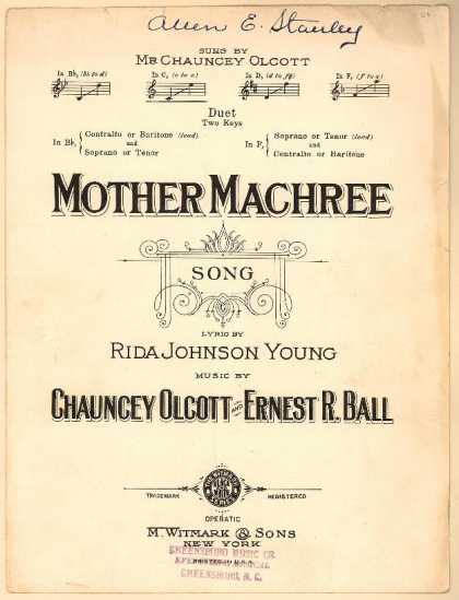 Sheet Music - Mother Machree; Barry of Ballymore