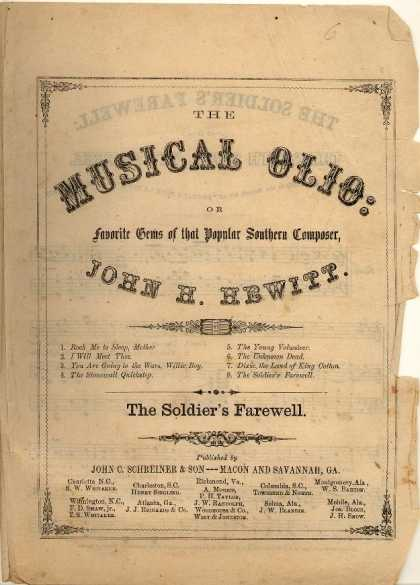Sheet Music - Soldier's farewell; The South shall yet be free; Partant pour la syne