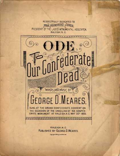 Sheet Music - Ode to our Confederate dead
