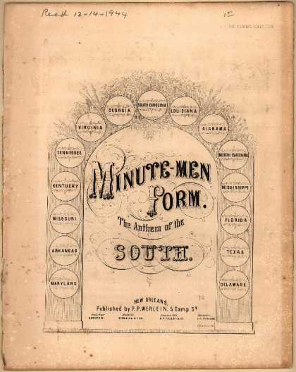 Sheet Music - Minute-men, form; The anthem of the South