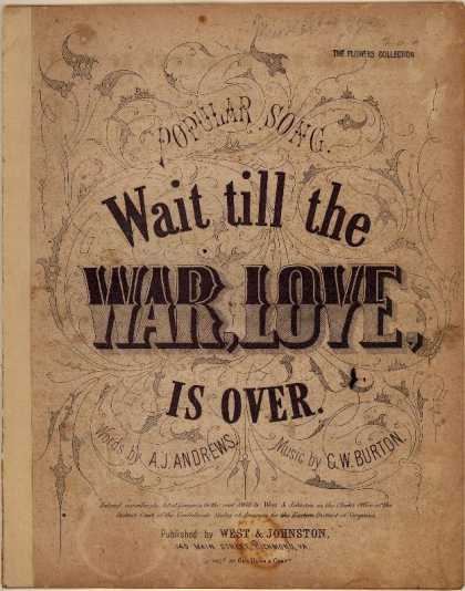 Sheet Music - Wait 'till the war, love, is over; Popular song