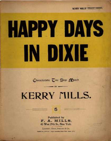 Sheet Music - Happy days in Dixie