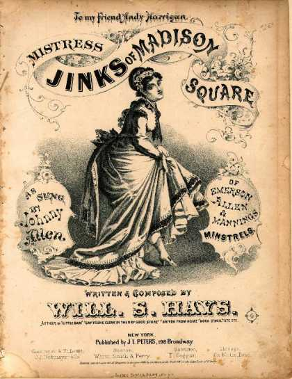 Sheet Music - Mistress Jinks of Madison Square; Misstress Jinks, wife of Capt. Jinks