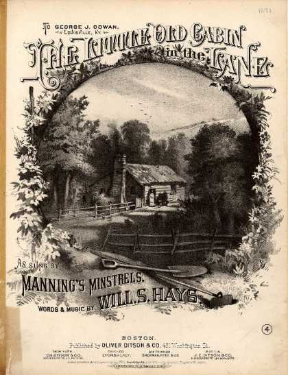 Sheet Music - Little old log cabin in the lane