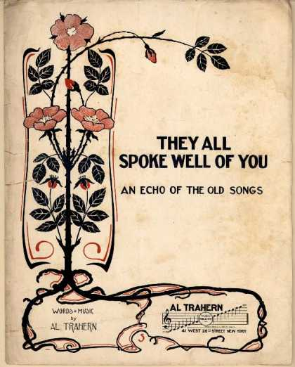 Sheet Music - They all spoke well of you; Echo of the old songs