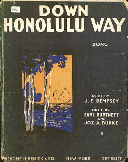 Sheet Music - Down Honolulu way
