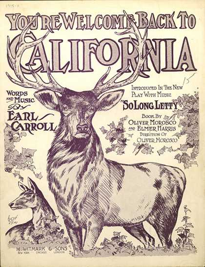 Sheet Music - You're welcome back to California