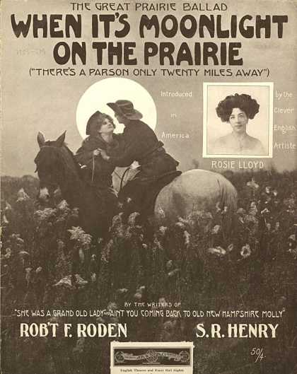Sheet Music - When it's moonlight on the prairie