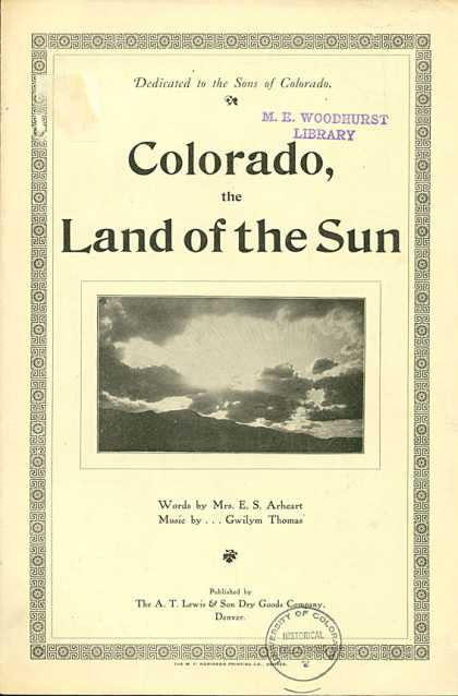 Sheet Music - Colorado the land of the sun
