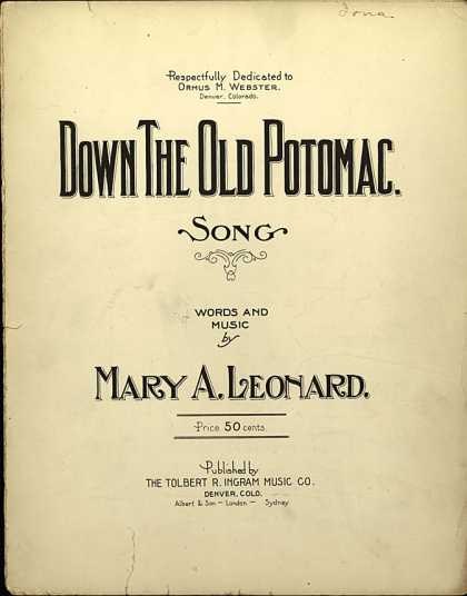 Sheet Music - Down the old Potomac