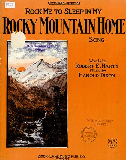 Sheet Music - Rock me to sleep in my Rocky Mountain home