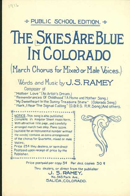 Sheet Music - The skies are blue in Colorado
