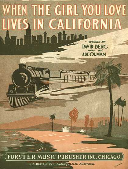 Sheet Music - When the girl you love lives in California