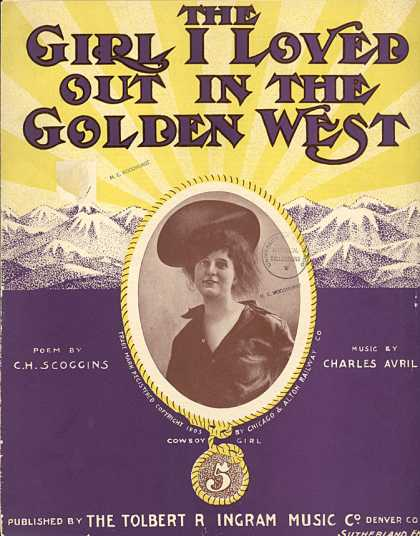 Sheet Music - The girl I loved out in the golden West