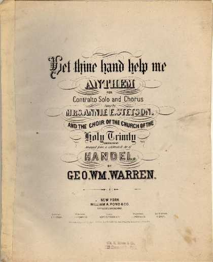 Sheet Music - Let thine hand help me; Anthem; 119th Psalm