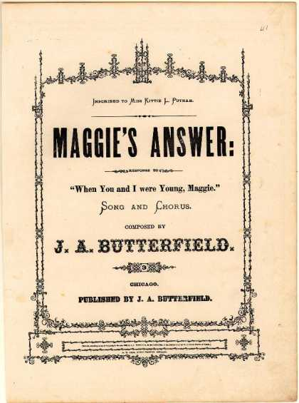 Sheet Music - Maggie's answer; When you and I were young, Maggie