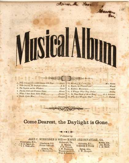 Sheet Music - Come dearest, the daylight is gone
