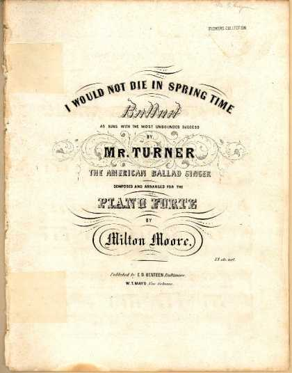 Sheet Music - I would not die in spring time
