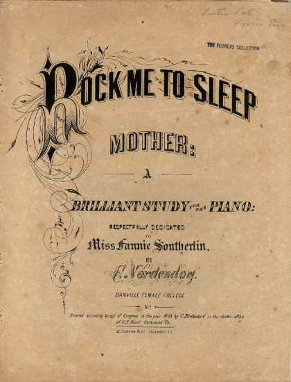 Sheet Music - Rock me to sleep, Mother