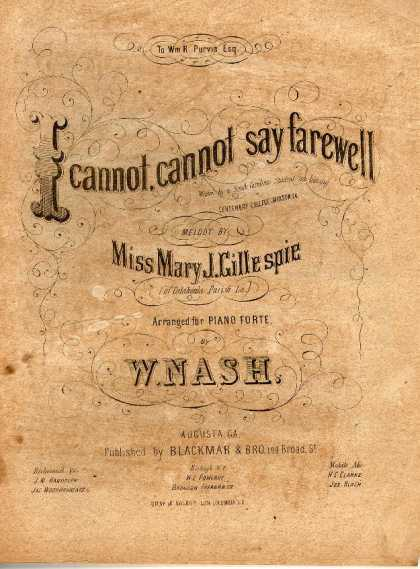 Sheet Music - I cannot, cannot say farewell