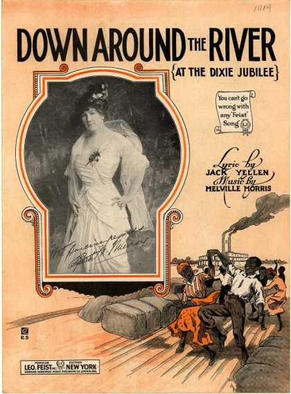 Sheet Music - Down around the river at the Dixie jubilee