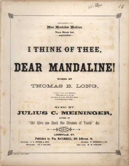 Sheet Music - I think of thee, dear Mandaline!