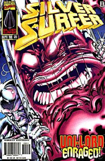 Silver Surfer (1987) 120 - Marvel Comics - Uni-lord Enraged - Red Creature - Reflection - Holding Surfboard