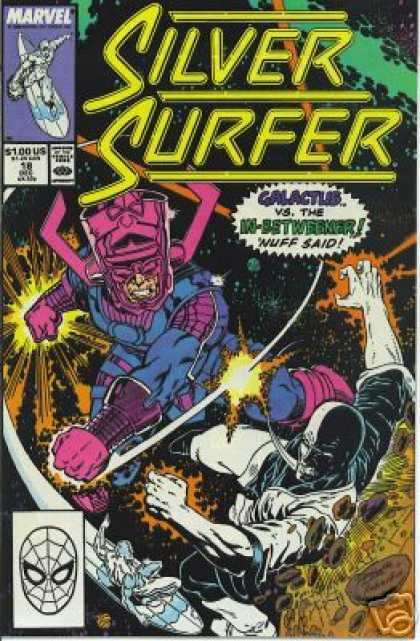 Silver Surfer (1987) 18 - Space - Astroids - Siler Surf Board - Nuff Said - Galactus Vs The In Betweener - Josef Rubinstein, Ron Lim