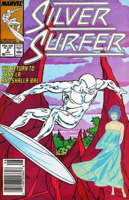 Silver Surfer (1987) 2 - The Return To Zenn-la And Shalla-bal - Woman In A Light Blue Dress - Purple Clouds - Tall Rocky Peaks - Green Trees