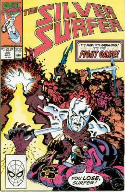 Silver Surfer (1987) 39 - Fight Game - You Lose Surfer - Knives - Sword - Machete