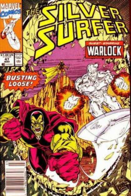 Silver Surfer (1987) 47 - Fire Balls - Fighting - Stone - Rock - Sword - Ron Lim