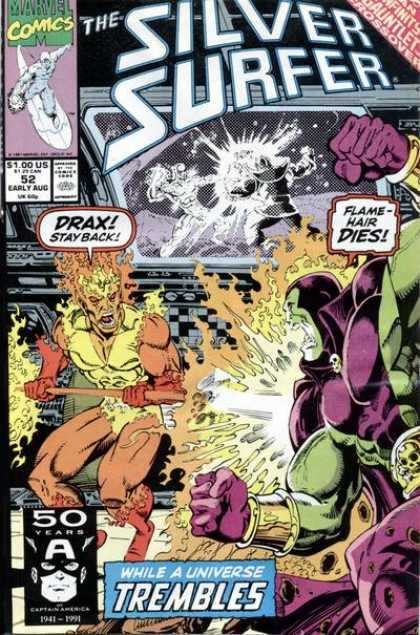 Silver Surfer (1987) 52 - Flame Hair Dies - Drax Stay Back - 50 Years - While A Universe Trembles - Gauntlet Crossover - Ron Lim