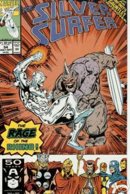 Silver Surfer (1987) 54 - Rage Of The Rhino - Issue 54 - Rhino Man On Front - 50 Year Anniversary - Infinity Gauntlet - Ron Lim