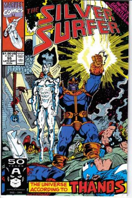 Silver Surfer (1987) 55 - Space - Thanos - Infinity Gauntlet - Subdued - Captain America - Ron Lim