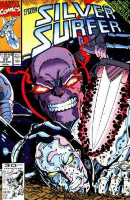 Silver Surfer (1987) 59 - Red Eyes - Knive - Purple Face - Smile - Teeth - Ron Lim