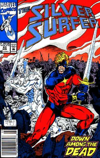 Silver Surfer (1987) 63 - Swords - Battle - Stand-off - Dead - War - Ron Lim
