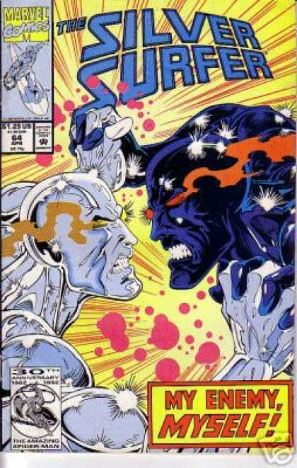 Silver Surfer (1987) 64 - My Enemy Myself - Marvel Comics - Blue Surfer - 30th Anniversary - Locked Hands - Ron Lim
