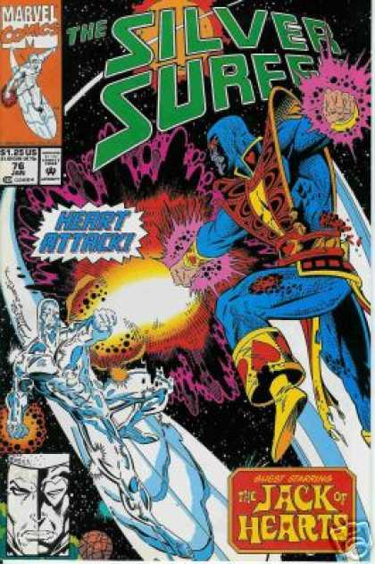 Silver Surfer (1987) 76 - Ice Man - Ice Slide - Purple Waves - Shock Waves - Red Hearts - Ron Lim, Terry Austin