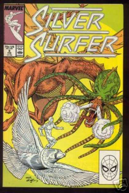 Silver Surfer (1987) 8 - Silver Hawk - Flying Dragon - Steaming Nostrils - Wings - Octopus Like Whiskers - Terry Austin