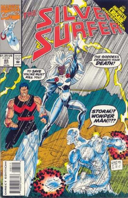 Silver Surfer (1987) 85 - Storm - Wonder Man - Surfboard - Lightning - Rain - Ron Lim