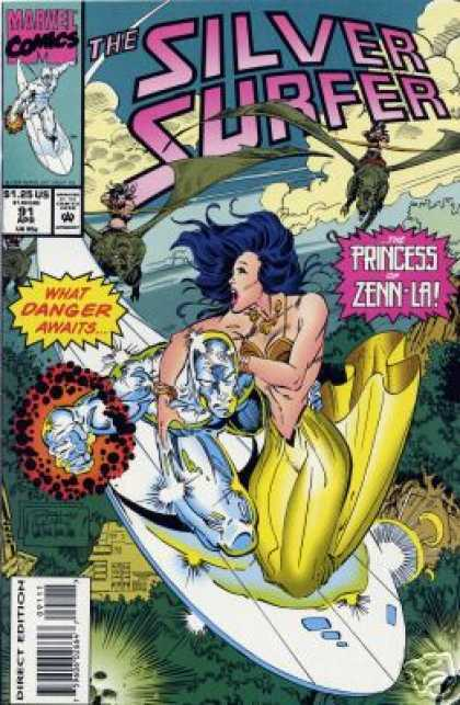 Silver Surfer (1987) 91 - Princess Of Zenn-la - Flying - Dinosaurs - Valkyries - Dogfight - Ron Lim